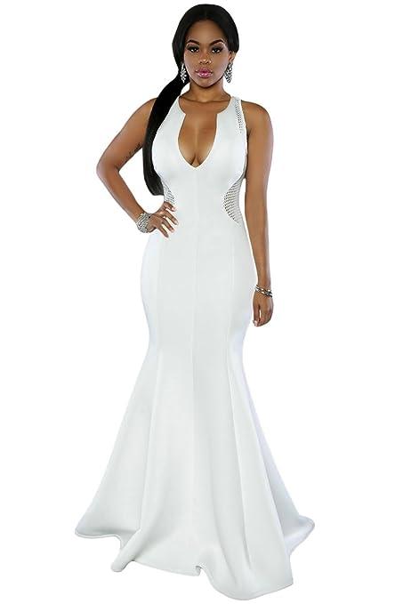 Elegante señoras largas medias de color blanco parte trasera Noche Cóctel Fiesta Prom Vestido Fiesta Danza