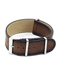 DASSARI Woodland Vintage Hand Finished Italian Leather NATO Watch Strap in Brown 18mm