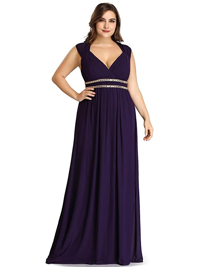 Ever-Pretty Talla Grande Vestido de Fiesta A-línea Cuello en V sin Mangas Gasa para Mujer 08697-EU2