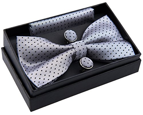 Modern Mini Polka Dots Woven Pre-tied Bow Tie (5') w/ Pocket Square & Cufflinks Gift Set