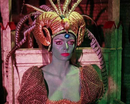 - Barbara Steele in Curse of the Crimson Altar wearing head dress striking horror 8x10 Aluminum Wall Art