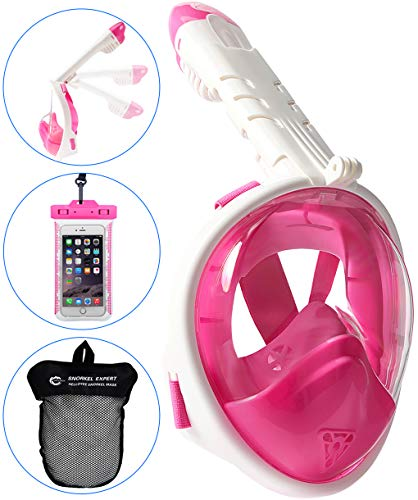 HELLOYEE Full Face Snorkel Mask for Adults Kids Panoramic View Snorkeling Mask Free Breathing Anti-Fog Anti-Leak Design with Detachable Camera Mount (Foldable Pink, XS)