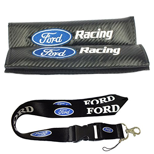 New 1pcs Ford Keychain Lanyard Badge Holder + 2pcs set Carbon Fiber Ford Racing Car Seat belt Cover Shoulder Pads