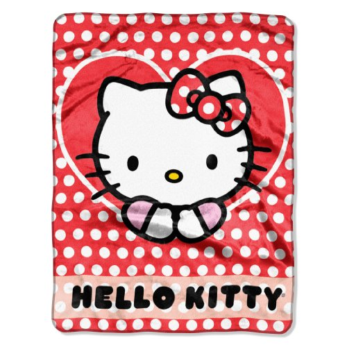 (SANRIO Hello Kitty, Polka Dot Explosion Silk Touch Throw Blanket, 46