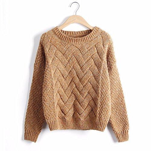 OME Sweater Loose Khaki Sweater Coat Size amp;QIUMEI Deep fEqxgrfUSw