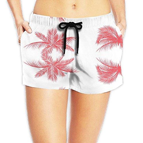 Palm Tree Leaves Pattern Women Color Fashion Bathing Suits Pants Pocket