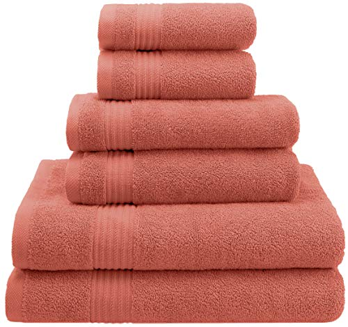 - AmericanVeteranTowel Hotel Quality Super Absorbent & Soft Genunine Cotton, 6 Piece Turkish Towel Set for Kitchen & Decorative Bathroom Sets Includes 2 Bath Towels 2 Hand Towels 2 Washcloths,Coral