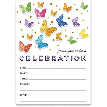 Rainbow Butterfly Invitations With Envelopes Pack Of 25 Any Occasion Large 5x7 Fill In Birthday Party Baby Shower Housewarming Bridal