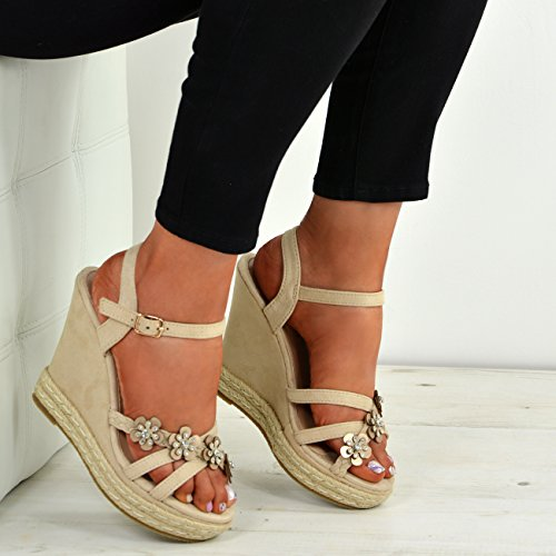 Cucu Fashion New Womens Ladies Peep Toe Studded Flowers Wedge Sandals Platform Shoes Sizes UK Nude 694MISKQ4