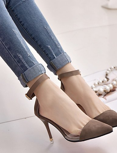 ShangYi Womens Shoes Leatherette Stiletto Heel Heels / Pointed Toe Heels Office & Career / Casual Black / Pink / White gray
