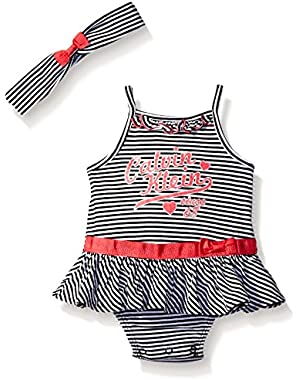 Baby Girls' Stripe Jersey Sunsuit with Headband