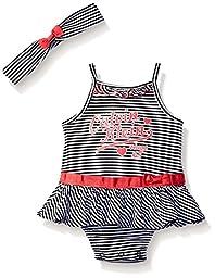 Calvin Klein Baby Girls\' Stripe Jersey Sunsuit with Headband, Black/White, 0-3 Months