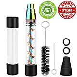 Glass Tool Kit-for Tobacco Dry Herb | 2 x Glass Bottles | 4 x O-Rings | 3 x Rubber Caps | 2 Cleaning Brushs Fine Gift Case(Ship from CA,Delivery Time:3-6 Days) (Rainbow)