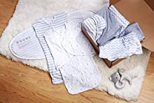 BreathableBaby 7-Piece Baby Gift Set Collection in Gray/White, Gender Neutral, Perfect Shower Gift, 2 Adjustable Swaddle Trios 3-in-1 (arms-up, arms-Down, arms-Out), 2 Swaddle Blankets, 3 Crib Sheets
