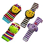 TOYMYTOY 4PCS Baby Infant Soft Wrists Rattles Toy Cute Plush Lion Elephant Hand Foot Finder Socks Set