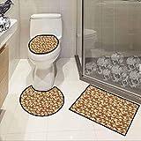 Mushroom,Non-Slip 3 Piece Toilet Mat Set Organic Food Porcini Mushroom with Vintage Grunge Display Harvest Farmland Bedroom Kitchen Carpet Doormats Decor Cocoa Brown Beige -  SCOCICI1588