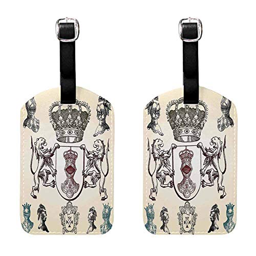 (Luggage ID Tag Medieval,Shield Design With Various Ancient Figures Coat of Arms Blazon Crown Print,Cream Teal Maroon Baggage Suitcase 1 Piece )