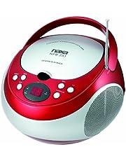 NAXA Electronics NPB-251RD Portable CD Player with AM/FM Stereo Radio, red