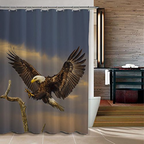 ChadMade Fabric Waterproof Flying Eagle Shower Curtain In 72