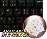 ITALIAN KEYBOARD STICKER WITH RED LETTERING ON TRANSPARENT BACKGROUND FOR DESKTOP, LAPTOP AND NOTEBOOK