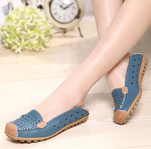 Aisun Women's Chic Hollow Out Cap Toe Flat Loafers Blue xDl4ikTB
