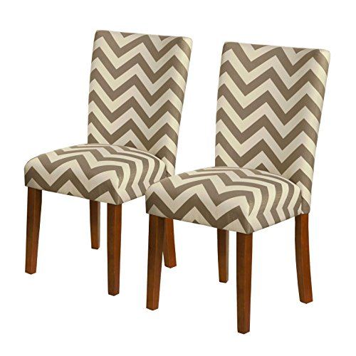 Cheap  HomePop Parsons Upholstered Accent Dining Chair, Set of 2, Grey Chevron