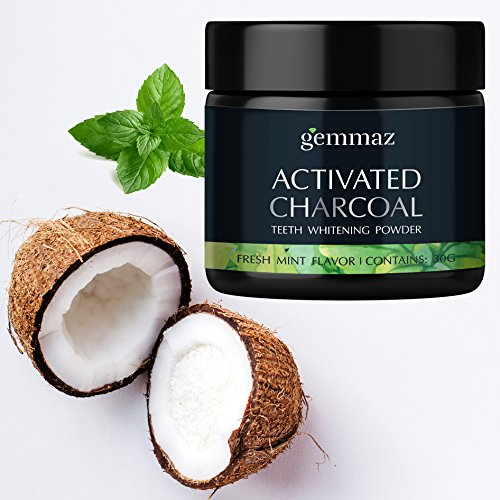 Gemmaz Charcoal Teeth Whitening Powder, Coconut Activated Charcoal Teeth Whitening, Enamel Safe Teeth Whitener for Sensitive Teeth Gums, Fresh Mint Flavor 30g by Gemmaz (Image #1)