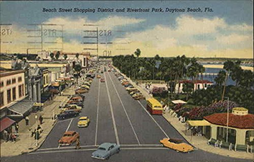 Beach STreet Shopping District and Riverfront Park Daytona Beach, Florida Original Vintage - Florida Daytona Shopping Beach