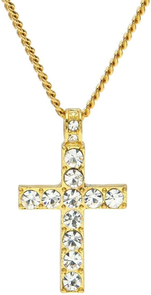 Xmas Gifts White Gold Plated Rhinestone Crystal Cross Pendant Necklace Chain