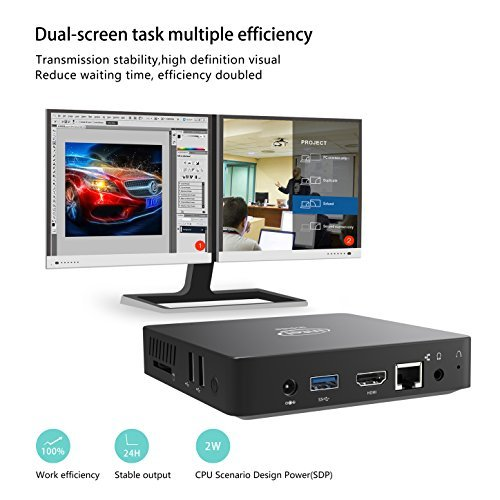 Z83-W Mini PC, Intel Atom x5-Z8350 Processor (2M Cache, up to 1.92 GHz) 4K/2GB/32GB 1000Mbps LAN 2.4/5.8G Dual Band WiFi BT 4.0 with HDMI and VGA Ports, Fanless Computer by COOFUN (Image #3)