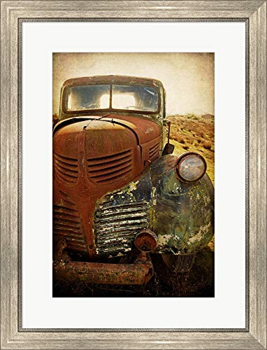 - Rusty Dodge by Jessica Rogers Photography Framed Art Print Wall Picture, Silver Scoop Frame, 22 x 28 inches