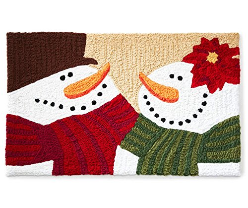 Winter Wonder Woodland Snowman Christmas Accent Hook Rug (18 x 30)
