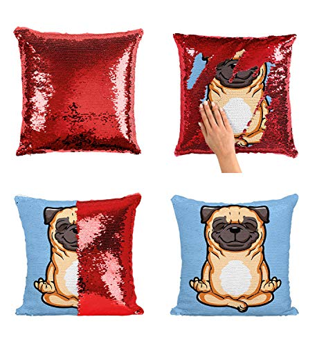 Pug Pugster Sequin Pillowcase, Mermaid Pillow, Reversible Pillow, Pillowcase Funny Pillow, Xmas, Birthday, Gift, Present, Celebrity Animation Fanart (Pillow Cover)