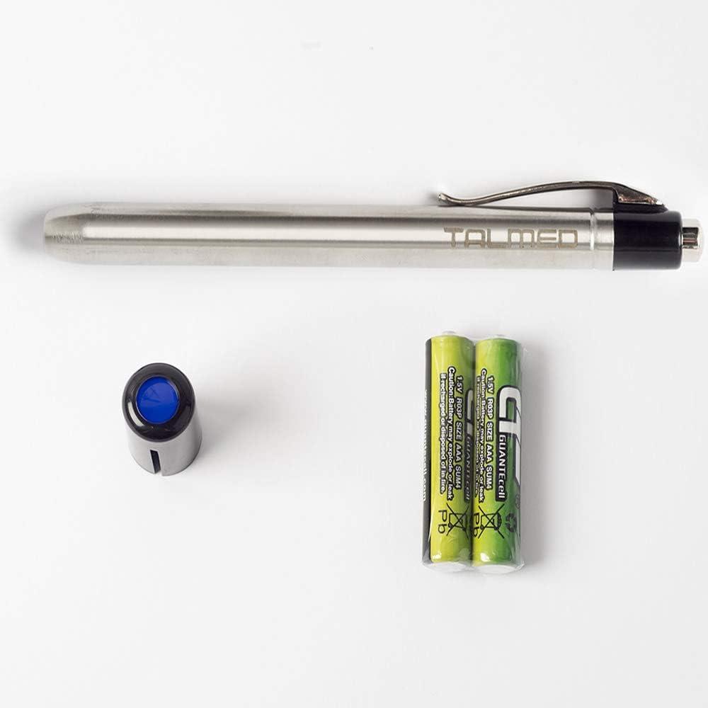Linterna Medica LED color cromada con filtro azul-Unidad