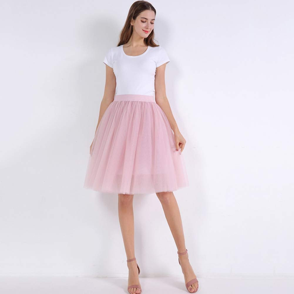 Dusty pink WHFDBZQ Mesh Pleated 7 Layers Dance Tulle Skirt Fashion Tutu Skirts Womens Petticoat Elastic Belt Lolita