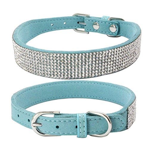 Sunward Bling Rhinestones Dog Collar - Soft Leather Made - Perfect for Pet Show & Daily Walking (L, Light - Dog Collar Show Blue