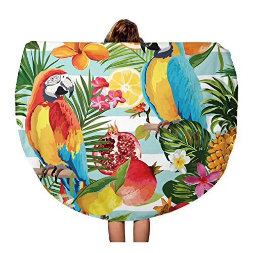 - Semtomn 60 Inches Round Beach Towel Blanket Tropical Fruits and Parrot Pattern in Pomegranate Lemon Orange Travel Circle Circular Towels Mat Tapestry Beach Throw
