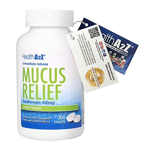 HealthA2Z Mucus Relief Chest,Guaifenesin 400mg, Immediate Release Expectorant, 300 Tablets