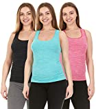 unique scrub tops - Unique Styles Activewear Layeing Undershirts for Women Tank Tops (Large/X-Large, 3PK: Mint, Pink, Charcoal)