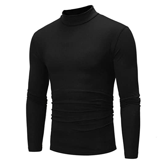 ac4403deda27 Elogoog Men Shirt Mens Winter Casual Basic Slim Fit Long Sleeve Thermal  Turtleneck Pullover T-