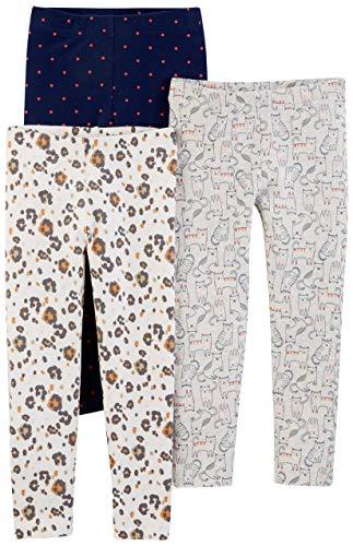 Simple Joys by Carter's Girls' Toddler 3-Pack Leggings, Kitty/Floral/dot, 2T