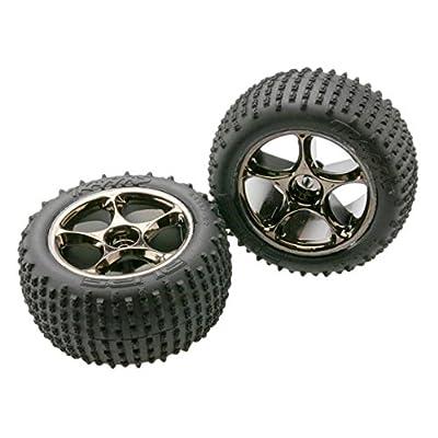 "Traxxas 2470A Alias Tires Pre-Glued on Tracer 2.2"" Black-Chrome Wheels, TSM rated (pair): Toys & Games"