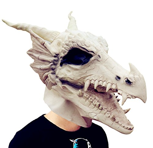 (Amazlab Costume Party Latex White Dragon Mask Decoration Halloween Party Novelty Props)