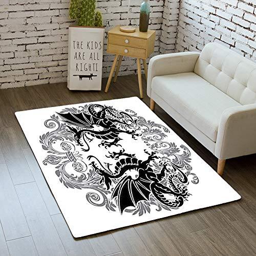 iBathRugs Door Mat Indoor Area Rugs Living Room Carpets Home Decor Rug Bedroom Floor Mats,Two Winged Heraldic Dragon Victorian