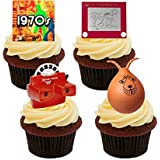 70s Retro Toys, Edible Cake Decorations - Stand-up Wafer Cupcake Toppers by Made4You