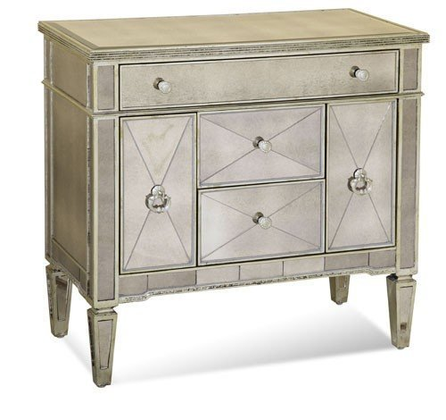 (Bassett Mirror Borghese Mirrored Library Commode, Silver Leaf)
