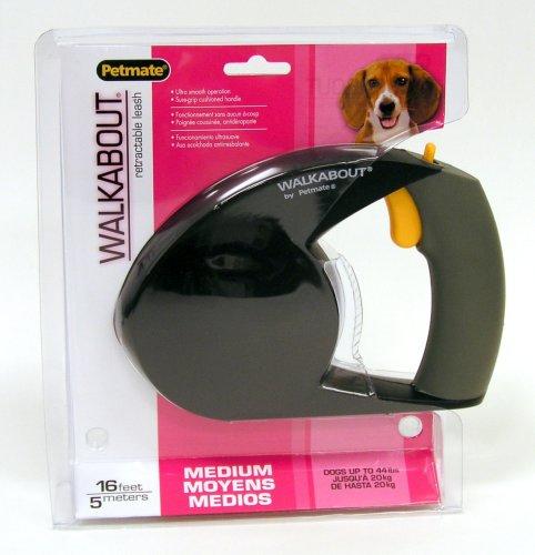 Petmate Walkabout Retractable Leash, Medium, Black, My Pet Supplies
