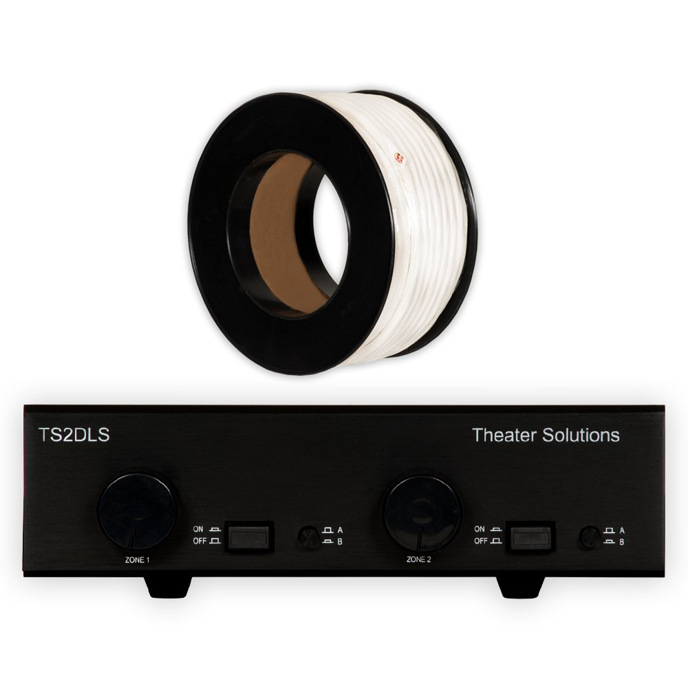 Theater Solutions TS2DLS Speaker Selector Box with Dual Source Volume Controls and C100-14-4 Wire by Theater Solutions