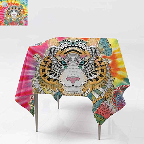 (Square Table Cloth,Animal,Tiger Portrait Butterflies Roses Abstract Globes Colorful Sun Background,Party Decorations Table Cover Cloth,60x60 Inch Multicolor )