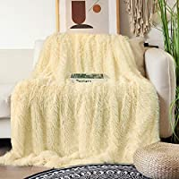 "Decorative Extra Soft Faux Fur Blanket Full Size 70"" x 78"",Solid Reversible Fuzzy Lightweight Long Hair Shaggy..."